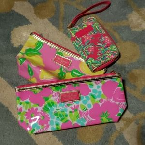 3 lilly pulitzer cosmetic bags and wallet wrislet